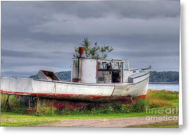 Coastal Maine Greeting Cards - Grounded Fishing Boat Greeting Card by Rick Mann