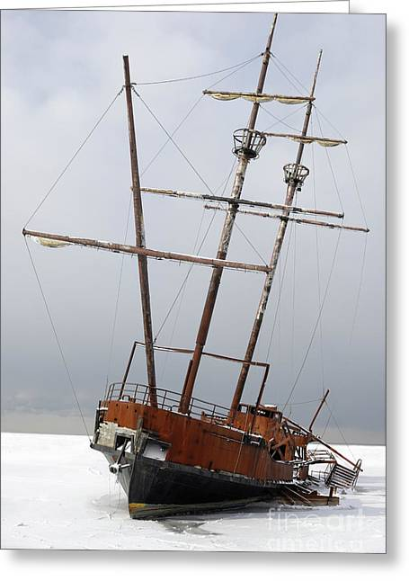 Sailing Ship Greeting Cards - Grounded Ship in Frozen Water Greeting Card by Oleksiy Maksymenko