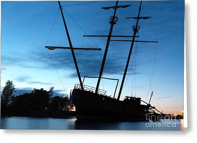 Tall Ships Greeting Cards - Grounded Tall Ship Silhouette Greeting Card by Oleksiy Maksymenko