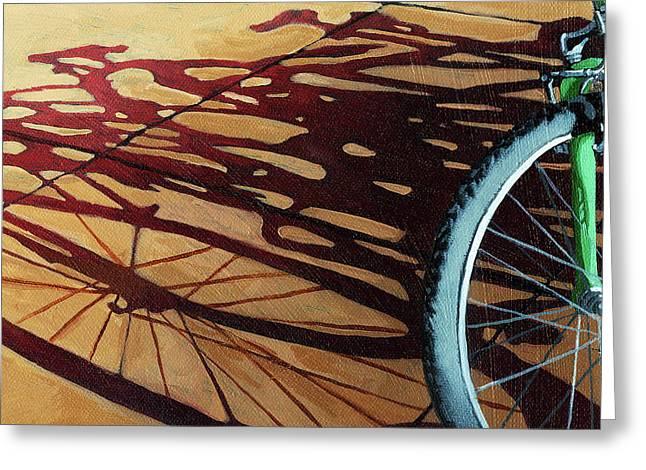 Linda Apple Greeting Cards - Group Hug - bicycle art Greeting Card by Linda Apple
