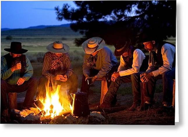 Mid Adult Men Greeting Cards - Group Of Cowboys Around A Campfire Greeting Card by Richard Wear