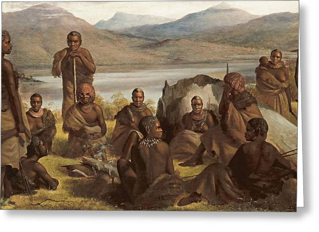 Group Of Natives Of Tasmania Greeting Card by Robert Dowling
