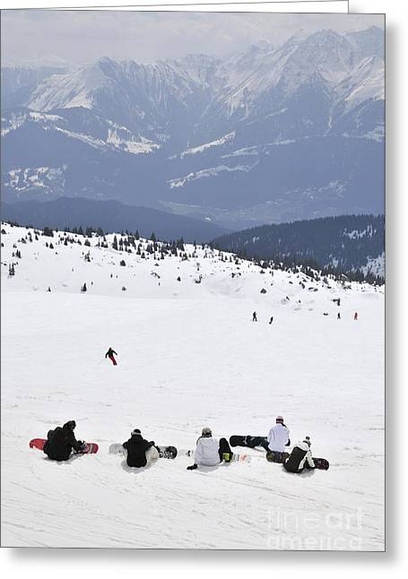 Italy Photographs Greeting Cards - Group of snowboarders on the slopes Greeting Card by Andy Smy