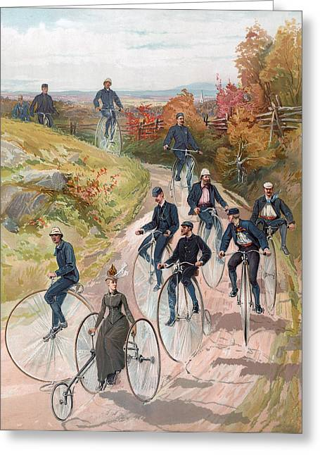 Fence Drawings Greeting Cards - Group riding penny farthing bicycles Greeting Card by American School