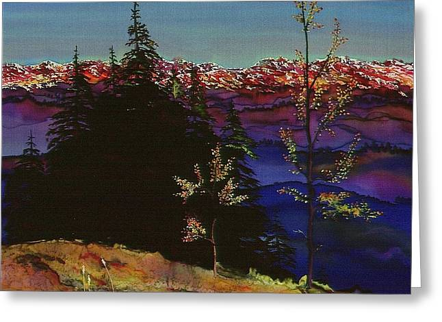 Trees Tapestries - Textiles Greeting Cards - Grouse Mountain Greeting Card by Carolyn Doe