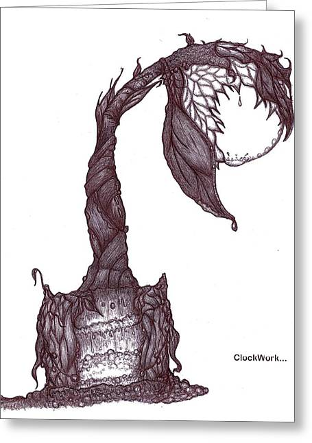 Organic Drawings Greeting Cards - Grow Lamp Greeting Card by ClockWork Rockawn