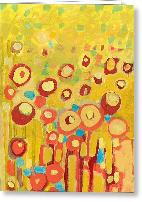 Canvas Floral Greeting Cards - Growing in Yellow No 2 Greeting Card by Jennifer Lommers