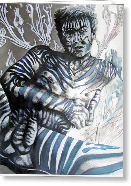 Growing Pains Zebra Boy  Greeting Card by Rene Capone