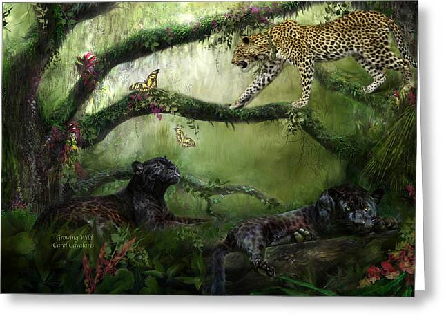 Jaguars Mixed Media Greeting Cards - Growing Wild Greeting Card by Carol Cavalaris