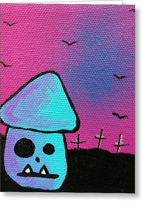 80s Mixed Media Greeting Cards - Gruff Zombie Mushroom Greeting Card by Jera Sky