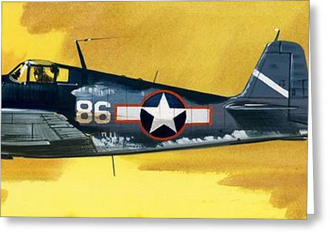 Airplane Greeting Cards - Grumman F6F-3 Hellcat Greeting Card by Wilf Hardy