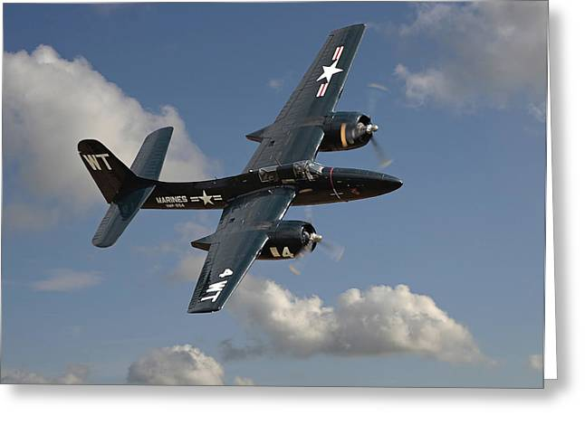 Usmc Greeting Cards - Grumman Tigercat Greeting Card by Pat Speirs