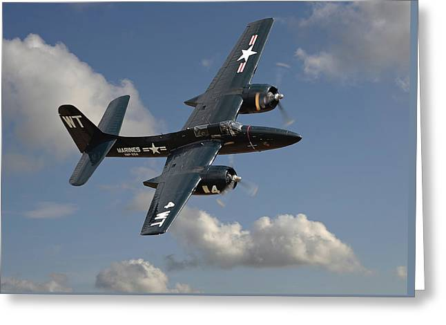 Military Aircraft Greeting Cards - Grumman Tigercat Greeting Card by Pat Speirs
