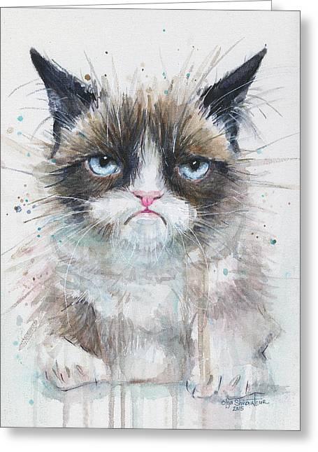 Pet Mixed Media Greeting Cards - Grumpy Cat Watercolor Painting  Greeting Card by Olga Shvartsur