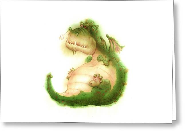 Andy Catling Greeting Cards - Grumpy Dragon Greeting Card by Andy Catling