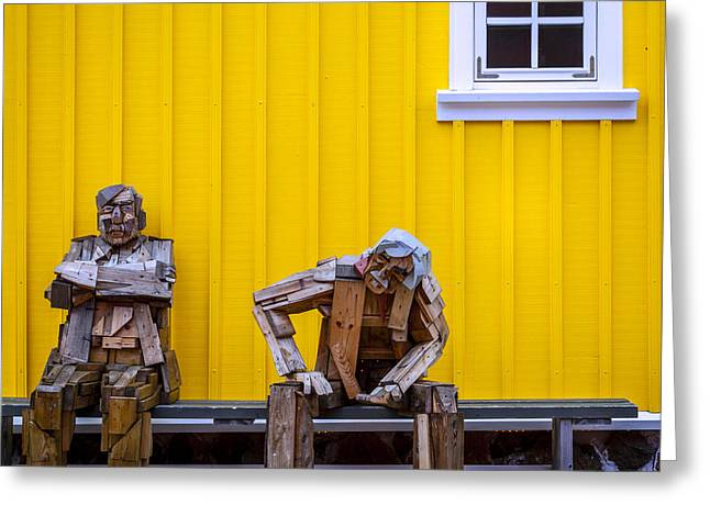 Wooden Sculpture Greeting Cards - Grumpy old men Greeting Card by Alexey Stiop