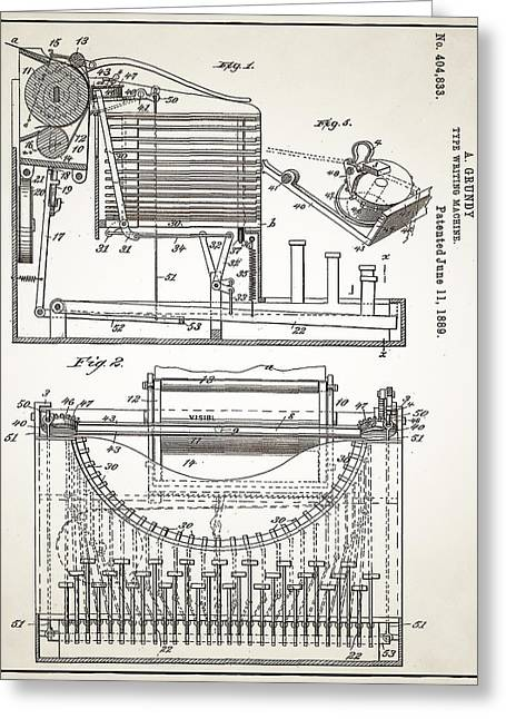 Grundy Typewriter Patent 1889 Greeting Card by Digital Reproductions