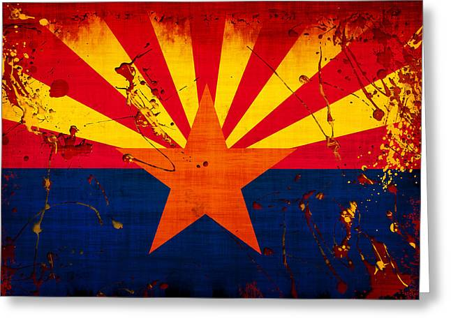 """abstract Art"" Digital Art Greeting Cards - Grunge and Splatter Arizona Flag Greeting Card by David G Paul"