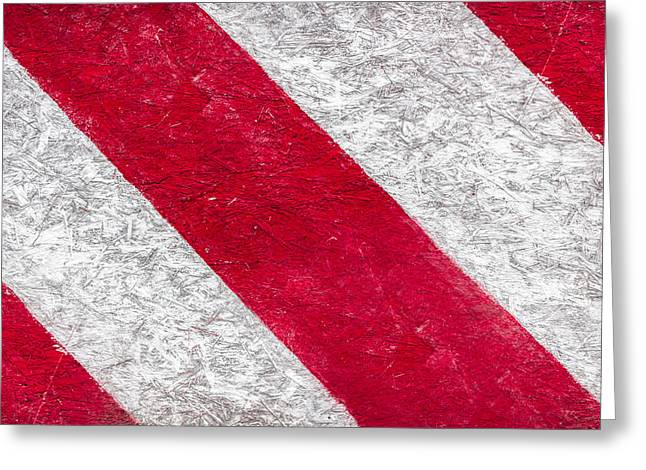 Grunge Background Of Red And White Stripes  Greeting Card by Germano Poli