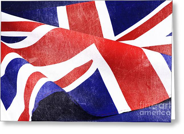 Wwi Greeting Cards - Grunge distressed aged old Union Jack British flag Greeting Card by Milleflore Images