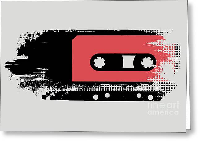 Grunge Faded Analogue Retro Audio Tape Greeting Card by Shawn Hempel