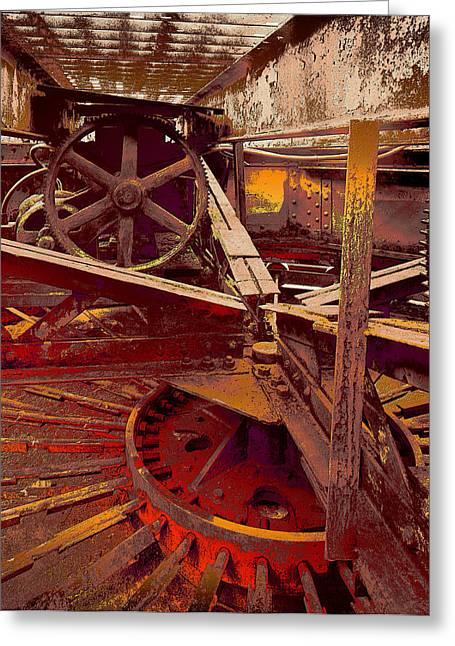 Grunge Gears Greeting Card by Robert Kernodle