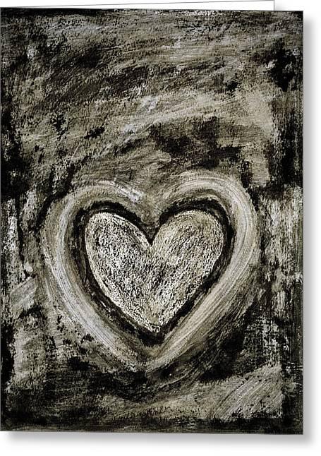 Grunge Heart Greeting Card by Frank Tschakert