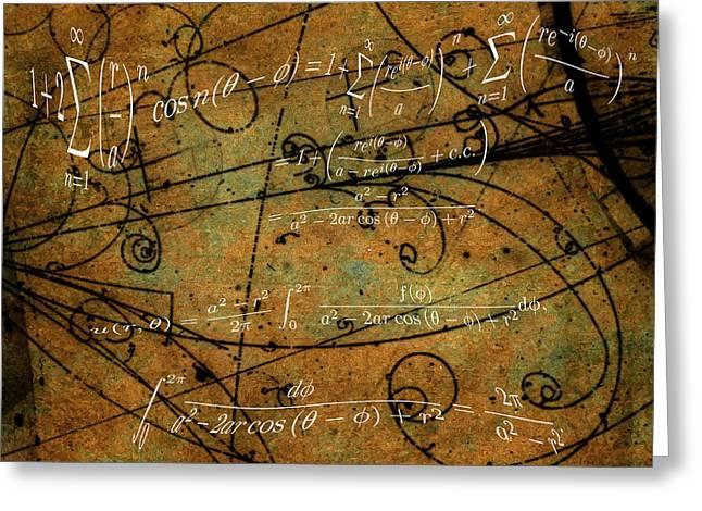Grunge Math Equations Greeting Card by Robert G Kernodle