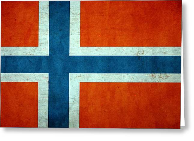 Grunge Norway Flag Greeting Card by Dan Sproul