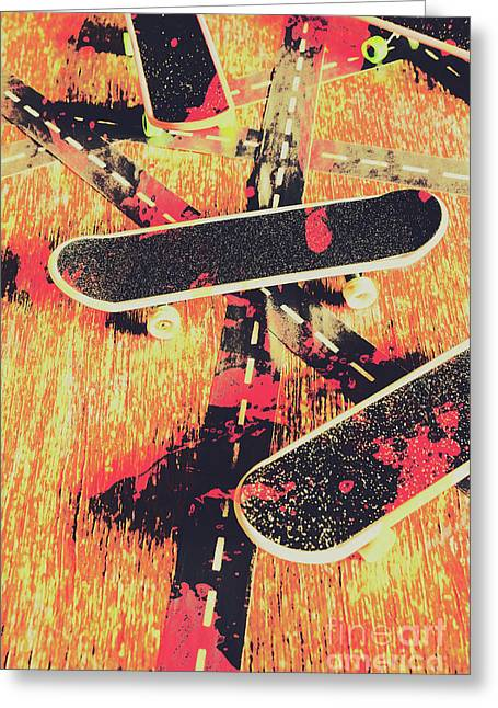 Grunge Skate Art Greeting Card by Jorgo Photography - Wall Art Gallery