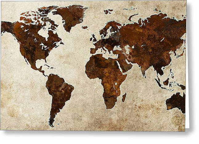 Gary Grayson Greeting Cards - Grunge World Map Greeting Card by Gary Grayson