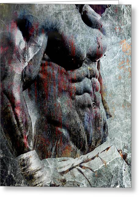 Pecs Digital Greeting Cards - Grungy Hulk Greeting Card by Greg Sharpe