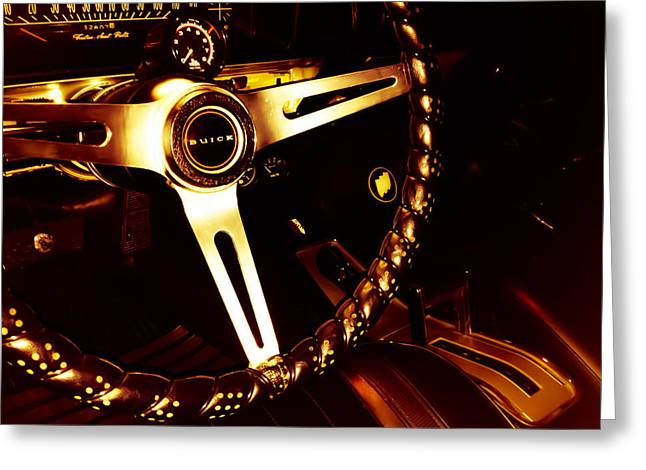 Steering Greeting Cards - GS 400 by Buick Interior in Gold Greeting Card by Heather Joyce Morrill