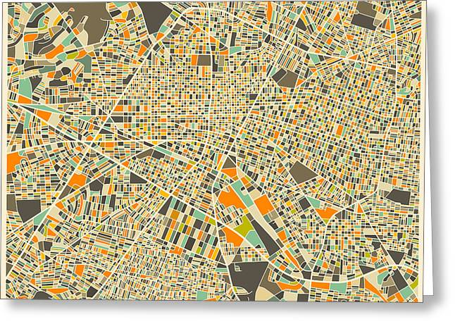 Guadalajara Greeting Cards - GUADALAJARA Map Greeting Card by Jazzberry Blue