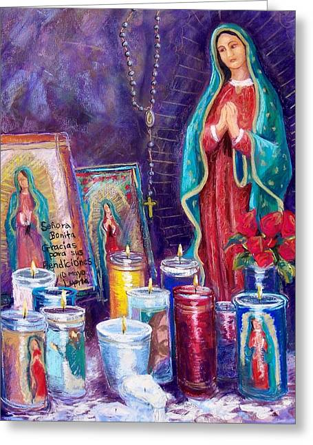 Votive Candles Greeting Cards - Guadalupe y Las Velas candles Greeting Card by Candy Mayer