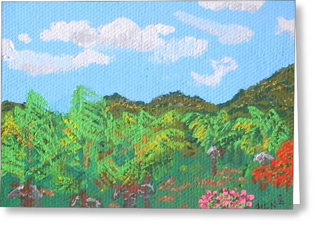 St Margaret Paintings Greeting Cards - Guana Bay hillside Greeting Card by Margaret Brooks