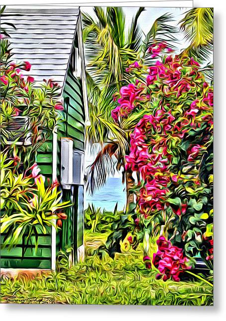 Bamboo Fence Digital Greeting Cards - Guana Home Greeting Card by Anthony C Chen