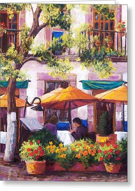 Umbrella Pastels Greeting Cards - Guanajuato Cafe Greeting Card by Candy Mayer