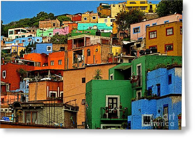 Guanajuato Hillside 1 Greeting Card by Olden Mexico