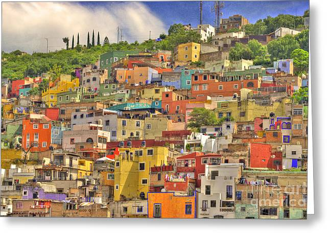 Colonial Architecture Greeting Cards - Guanajuato Hillside Greeting Card by Juli Scalzi