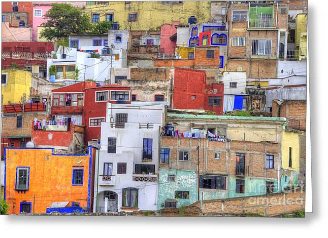 Colorful Houses Greeting Cards - Guanajuato Jumble Greeting Card by Juli Scalzi
