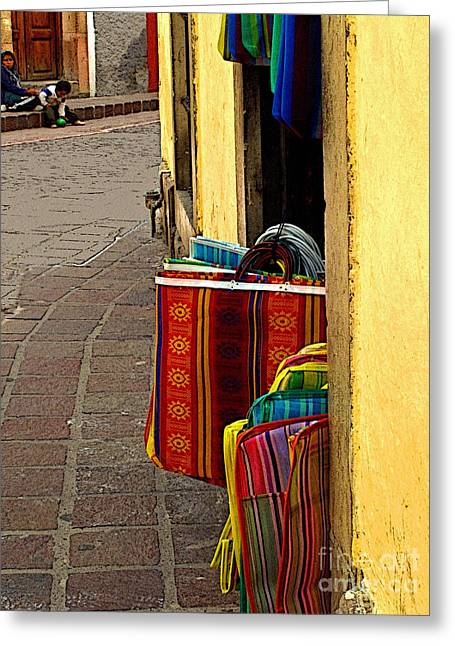 Enhanced Greeting Cards - Guanajuato Street Scene Greeting Card by Olden Mexico