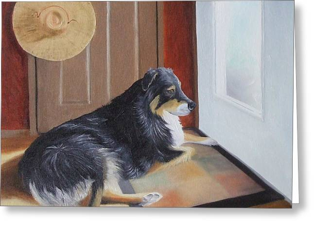 Guard Dog Paintings Greeting Cards - Guard Duty Greeting Card by Lisa Lea Bemish