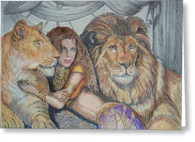 Harem Drawings Greeting Cards - Guarded by Lions Greeting Card by Martin Lagewaard