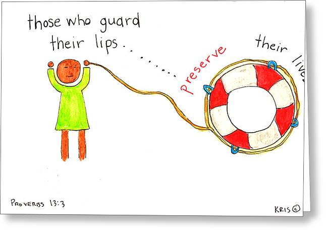 Devotional Mixed Media Greeting Cards - Guarded Lips Greeting Card by Kristen Williams