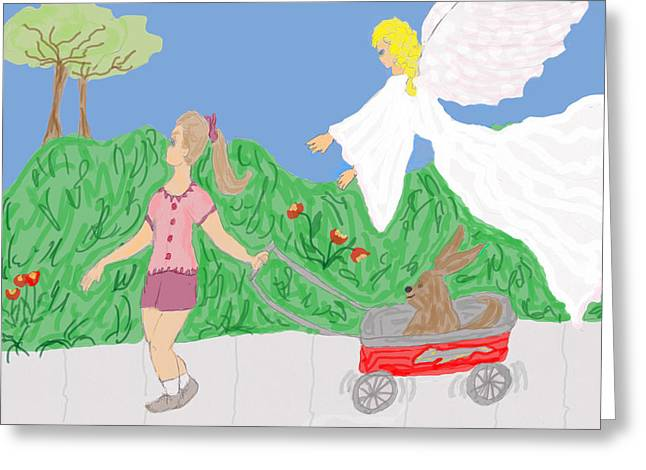 Guardian Angel Drawings Greeting Cards - Guardian Angel and the Child Greeting Card by Rosalie Scanlon