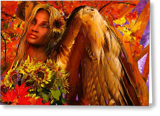 African Angel Greeting Cards - Guardian Angel/Autumn Greeting Card by Suzanne Silvir