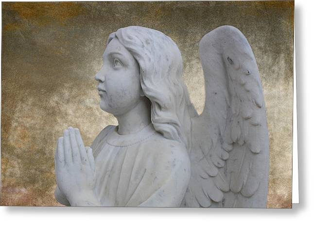 Guardian Angel Greeting Cards - Guardian Angel Greeting Card by Barbara Teller