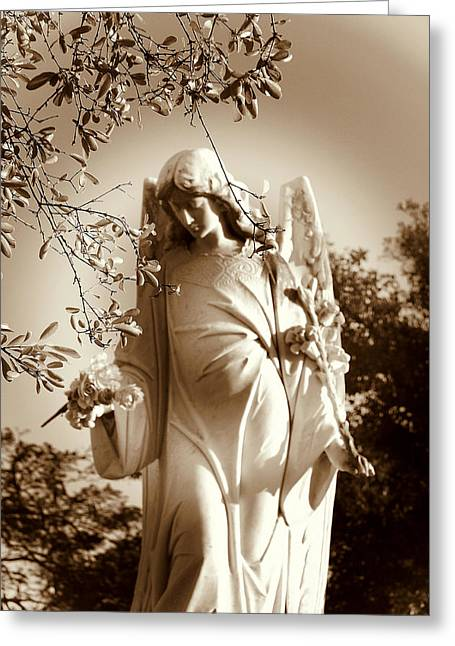 Black White Spiritual Angel Art Greeting Cards - Guardian Angel BW Greeting Card by Susanne Van Hulst