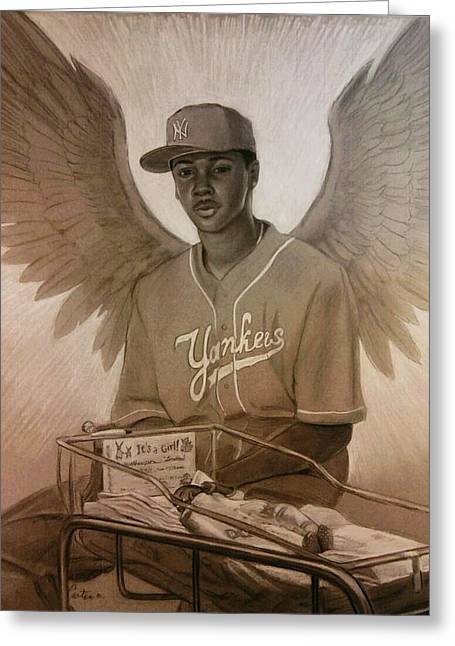 Miraculous Drawings Greeting Cards - Guardian Angel Greeting Card by Calvin Carter